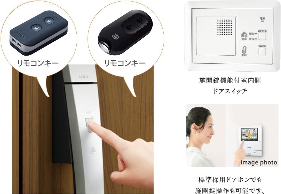 カードキー 施開錠機能付室内側ドアスイッチ リモコンキー 標準採用ドアホンでも施開錠操作も可能です。